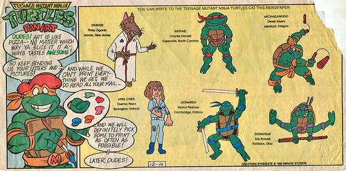 Teenage Mutant Mutant Ninja Turtles { newspaper strip } ..art by Brown , Lavigne  :: 12161990