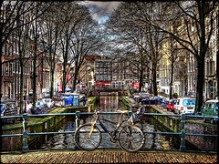 Another Dam canal, another Dam bike (Jez Blake) Tags: amsterdam bike canal bridges gables railings hdr leliegracht photomatix keijzersgracht