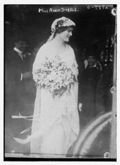 Miss Nancy Steele  (LOC) (The Library of Congress) Tags: woman standing bride veil libraryofcongress bouquet bridal whitedress xmlns:dc=httppurlorgdcelements11 dc:identifier=httphdllocgovlocpnpggbain14589 mrsdevereuxmilburn