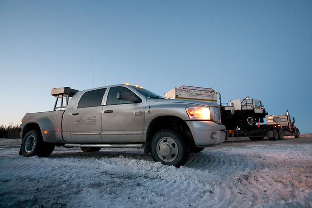 road winter sunset ice truck twilight dusk nt nwt dodge northwestterritories ram pilot trucking yellowknife 3500 expeditenorth
