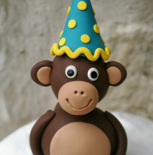 Mod Monkey Party Birthday Cake Topper close face by SpiritMama.