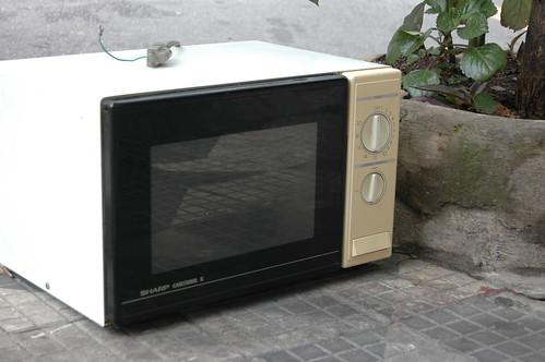 microondas no lixo