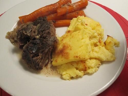 Braised beef, carrots, gnocchi a la romana