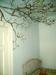 Mural and real tree branch over crib. (Anne Atkinson) Tags: art anne mural artist decorative richmond va painter finished faux blend atkinson finishes