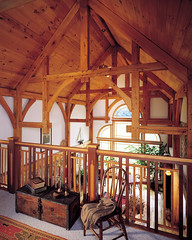 Pleasant Cottage Timber Frame Home - Loft (Riverbend Timber Framing) Tags: homes house canada home architecture america design living us cabin exterior unitedstates floor cottage meadow northamerica custom plans hybrid luxury pleasant cabins timberframe timberframehomedesign customhomedesign timberframeplans