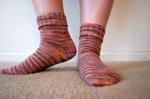 Marbles socks, modeled