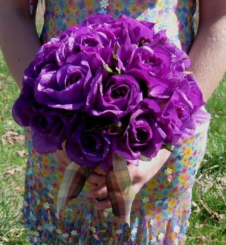 Dark Purple Dew Drop Rose Bridal Bouquet