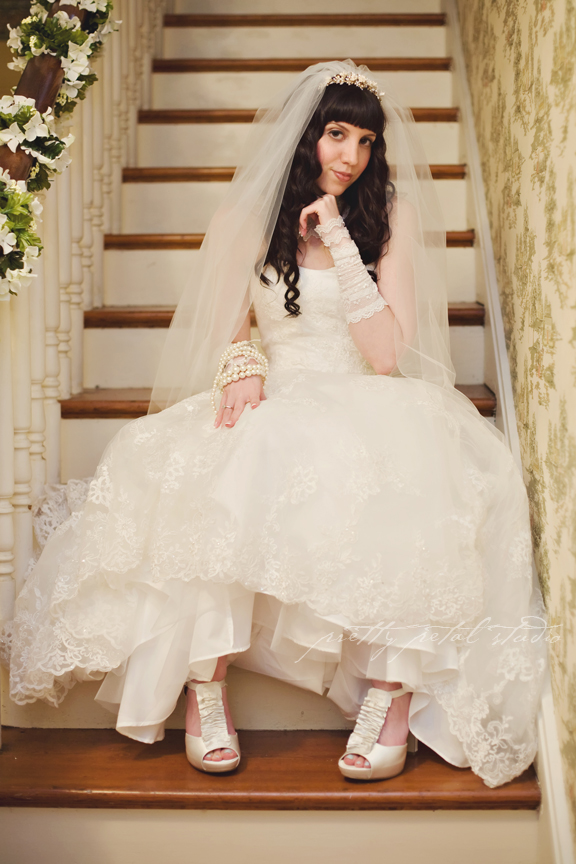pretty bride on stairs