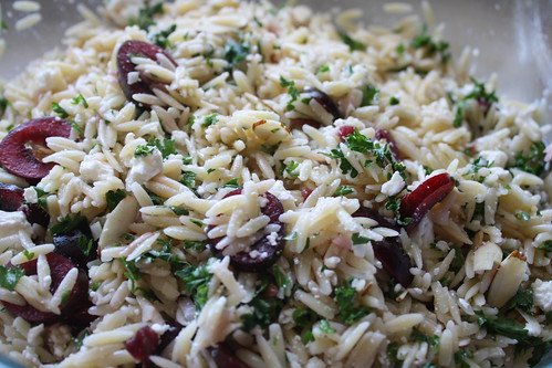 Orzo salad with cherries and feta