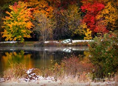 Fall Framed (socalgal_64) Tags: autumn trees lake snow mountains fall leaves reflections boat pond colorful pennsylvania scenic pa poconos snowfall picturesque shrubs wwater natureselegantshots