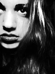 i've been alone. (bgemslaws) Tags: light bw white black contrast eyes gray grain harrypotter lips edit avpm