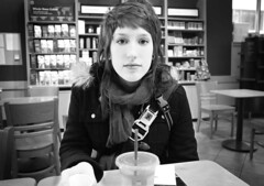 There, (aReasontoHope) Tags: portrait woman white black love coffee girl monochrome minnesota scarf hair out friend pretty drink jenny location pop adventure starbucks backpack tables layers shelves duluth dotson areasontohope