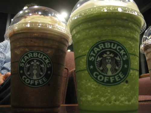 Dark Mocha and Green Tea frappuccinos.