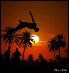 He Can Fly, If He Just Believes ! (Bashar Shglila) Tags: sunset sun lake silhouette palms fun jump jumping diving libya  ain ghadames  libyen  lbia  libi libiya anawesomeshot liviya libija       lbija  lby libja lbya liiba livi   elfaras