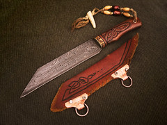 Hildeofor 3 (Cedarlore Forge) Tags: work ancient european hand hunting knife battle knot sage fantasy sword celtic blade dagger viking legend epic boar carvings forged heroic lore norse germanic mythic crafted seax