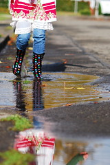 Puddle Portrait (lydiafairy) Tags: road street selfportrait reflection me water sunshine rain vintage myself fun puddle nikon colorful bright splash wellies playful rubberboots mudpuddle spt splish splashing 105mm d80 sooc