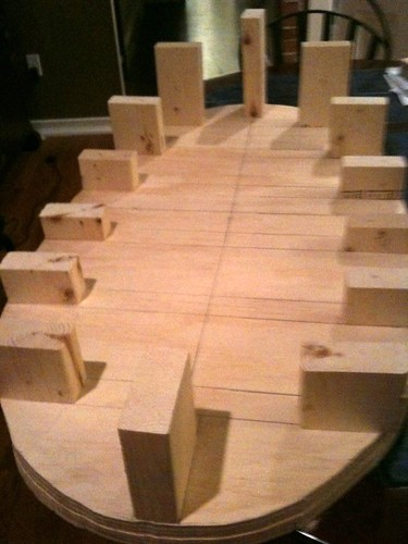 Shaped with blocks temporarily placed.