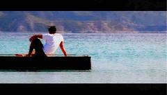 """""""..."""" (Jotabes) Tags: blanco azul faro puerto la muelle mar flickr venezuela dream playa el cruz sentado isla paraiso hombre montaas dreamed caribe jotabes"""