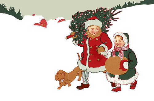 Children bundled up and carrying their Christmas tree