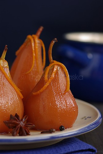 Poached Pear in Red Wine-Fruit Brandy Brew