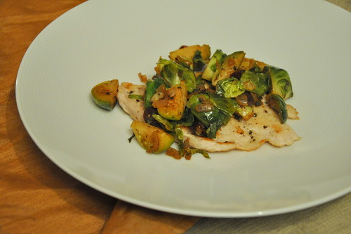 Turkey Cutlets with Brussels Sprouts and Dried Cranberries