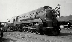 Grand Trunk Western Railroad streamlined 4-8-4 steam locomotive # 6408. Chicago Illinois. 1938.