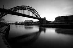 Tyne Bridge - Newcastle upon Tyne - B&W (5ERG10) Tags: uk longexposure morning bridge england sky bw white black water sergio clouds sunrise reflections river newcastle hotel nikon long exposure unitedkingdom steel fiume tripod smooth hilton sigma wideangle landmark sage tyne bn gateshead ponte tynebridge quays acqua tyneside bianco nero nopostprocessing newcastleupontyne inghilterra riflesso d300 10mm bienne sigma1020 nohdr sooc straightoutofcamera amiti motthayandanderson 5erg10 sergioamiti