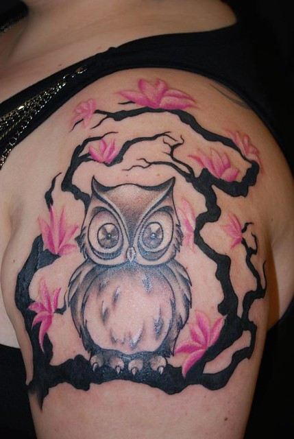 Owl and cherry blossom tree tattoo by abbychuela