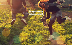 """Happiness is realizing that nothing is too important"" (Desire Delgado) Tags: sun sunlight luz sol field happy jump jumping quote young happiness badajoz campo desiree felicidad feliz joven delgado rayos"
