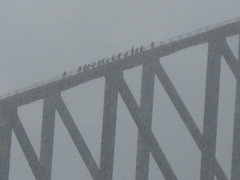the Bridge walk in a storm