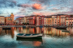 The Bay at Portofino (Stuck in Customs) Tags: world travel sunset vacation usa digital america photography hotel boat blog high orlando dynamic stuck florida united north january resort replica processing imaging recreation universal states orangecounty range portofino hdr tutorial trey travelblog customs citywalk 2010 ratcliff hdrtutorial stuckincustoms treyratcliff stuckincustomscom nikond3x soetop50spotsfordaydreamers