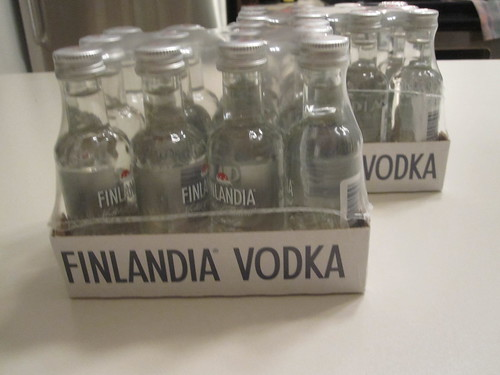 24 miniature bottles of vodka - free