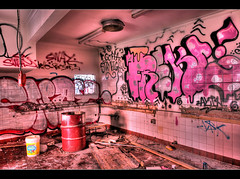 Kitchen Nightmare (Stephen Kinna Photography) Tags: california abandoned graffiti power drum decay barrel motel melbourne tiles damage mayo damaged hdr decayed hawthorn vandalised