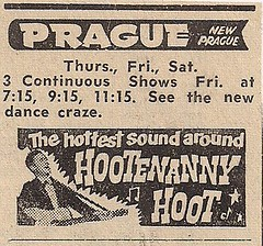 1964 Hootenanny Hoot Ad Prague Theater, New Prague, MN)