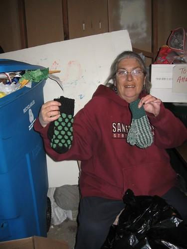 Ann unpacks socks