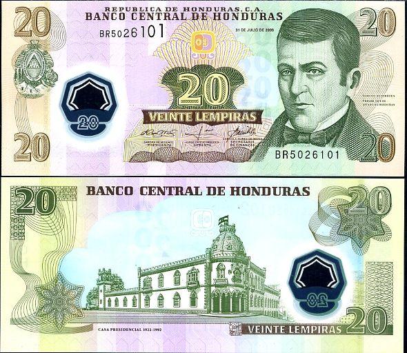 HONDURAS 20 LEMPIRAS 2008 2010 POLYMER