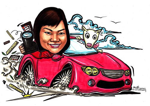 lady caricature in car farewell to chocolate industry A3
