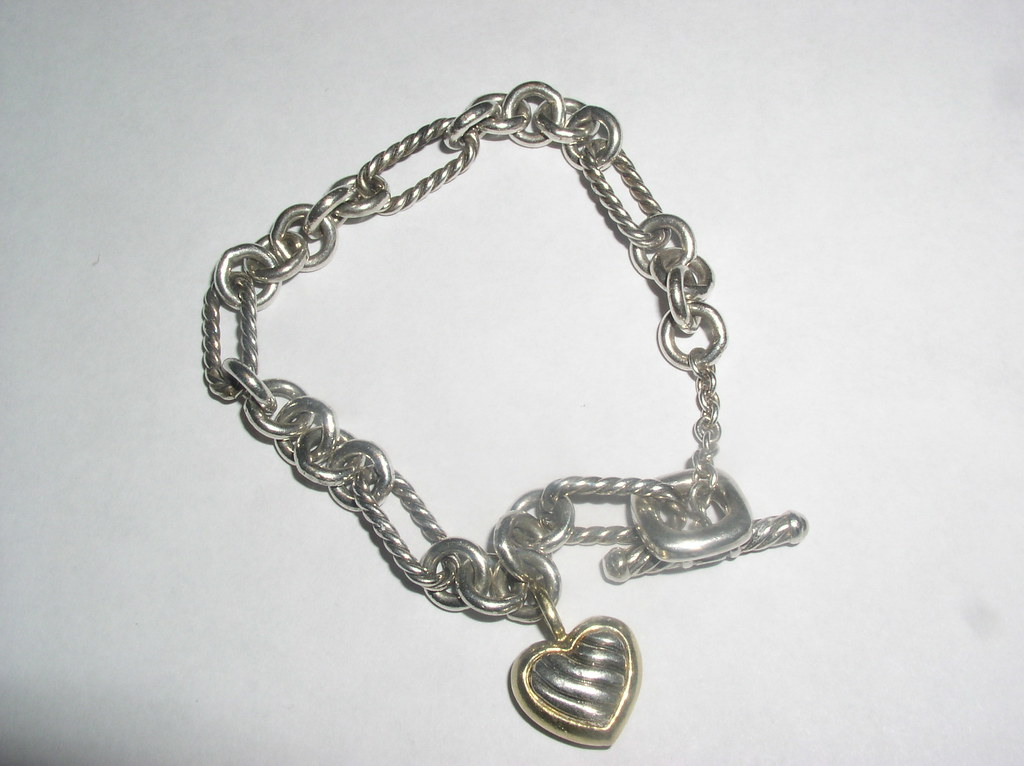 David Yurman Silver and 18ct gold Bracelet