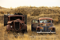 Rotting Jalopies (Todd Klassy) Tags: old travel two usa brown sunlight west color cars ford abandoned broken nature rotting grass metal horizontal rural landscape outdoors garbage junk rust montana mt antique empty horizon brokenglass neglected rusty plymouth dry nobody dirty retro havre forgotten transportation western oxidation restoration junkyard mopar copyspace roadside wreck decline demolished deserted corrosion carshow scenics jalopy oldfashioned frontview rustyoldcars deterioration absence stockphotography fixerupper degradation royaltyfree environmentaldamage ruralscene rightsmanaged nonurbanscene collectiblecars rustingaway americanautoindustry ironoxides junkyardcars vehiclebreakdown cashforclunkers picturesofrustycars