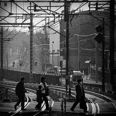 Crossing The Tracks (rasenkantenstein) Tags: street city people texture japan train walking photography japanese spring wire track cross shot tracks picture jr wires nagoya saitama crossroad buidling 2010