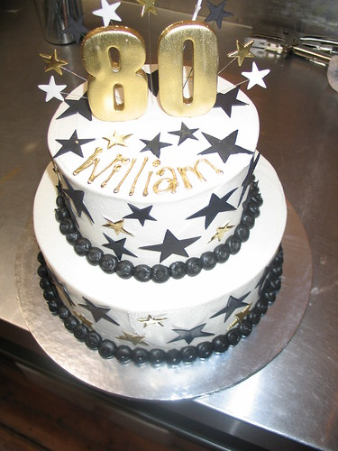 2 Tier Birthday Cake White Butter Icing Black Gold Stars