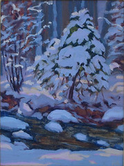 Creekside Pine in Winter - 12 x 9""