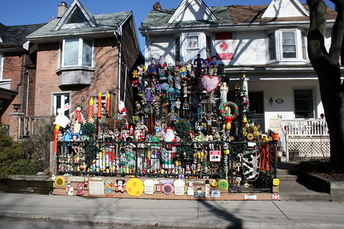 wide angle view of Toronto strangely decorated house