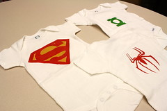 Baby gifties (.hannita.) Tags: baby spiderman superman superhero greenlantern onesie freezerpaperstencil howaboutorange