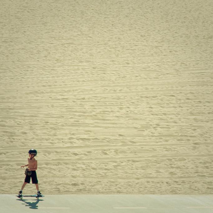 On the Sand - Skateboarder