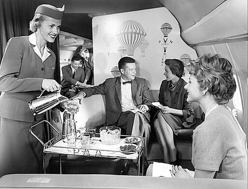c. 1959 Boeing- 707- first class lounge