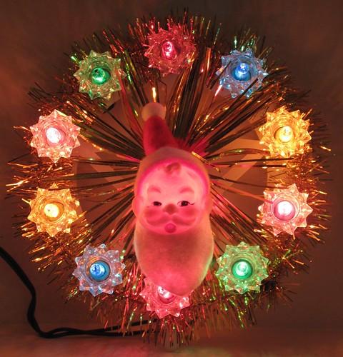 vintage plastic santa tree topper 1960s - Lighted Christmas Tree Topper