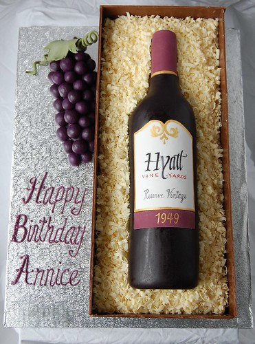 Wine bottle Birthday Cake - top view