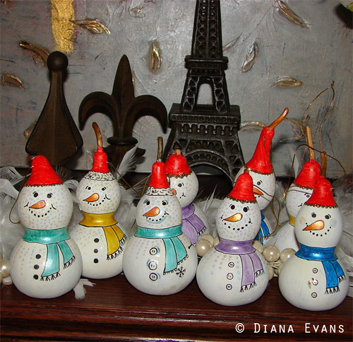 Hand Painted Dried Gourd Snowman Ornaments