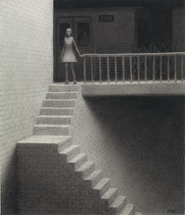 Tunnel (Aron Wiesenfeld) Tags: white black girl night train underground subway erin drawing aaron staircase aron wiesenfeld descending weisenfeld wiesenfield weisenfield